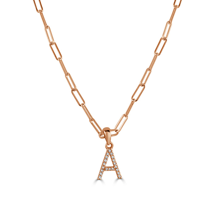 14k Rose Gold & Diamond Paperclip Initial Necklace