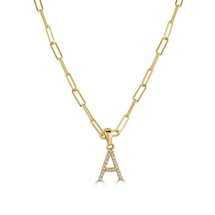 14k Yellow Gold & Diamond Paperclip Initial Necklace