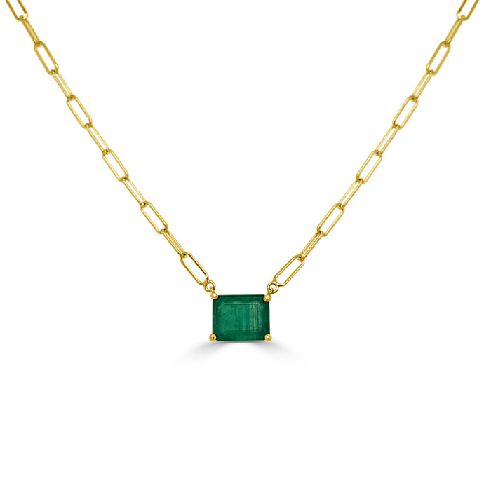 14k Gold & Emerald Link Necklace