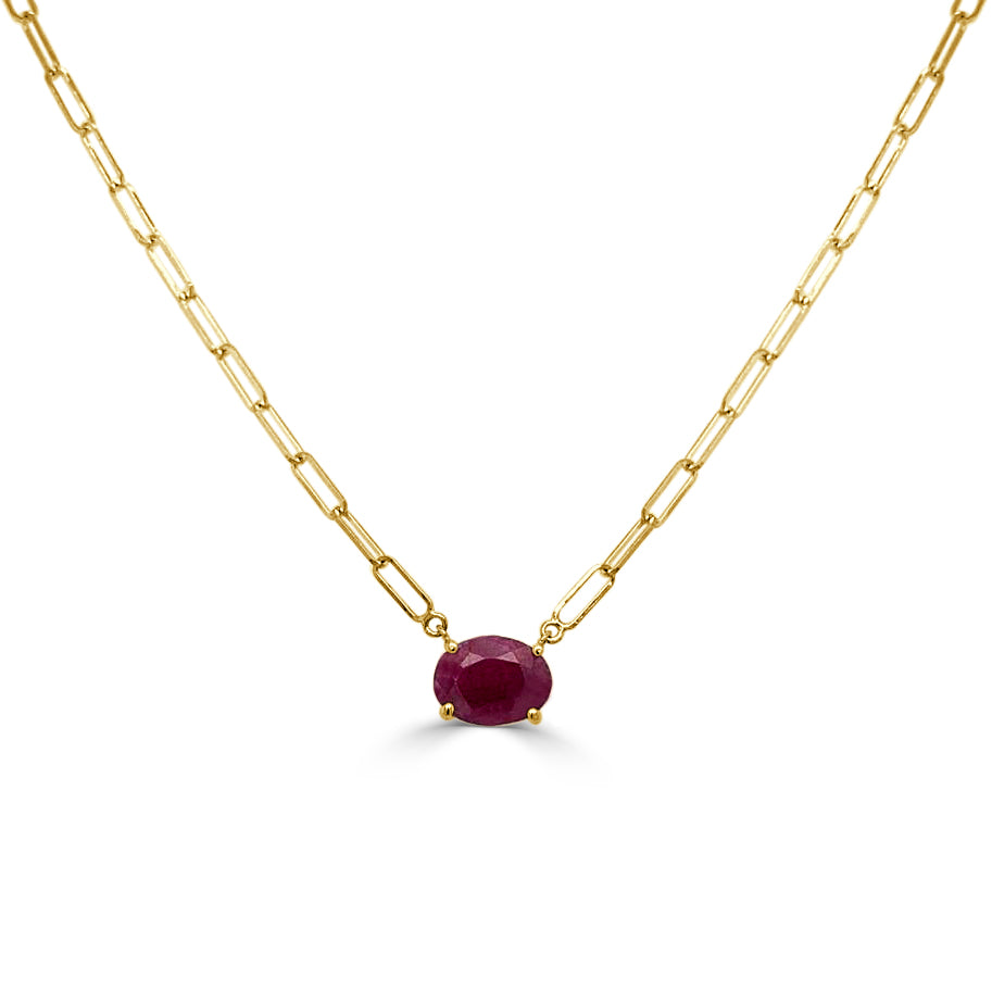 14k Gold & Ruby Link Necklace