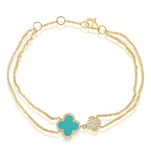 Load image into Gallery viewer, 14k Gold & Diamond Turquoise Clover Bracelet