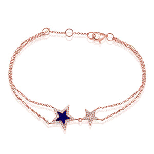 14k Gold & Diamond Lapis Star Bracelet