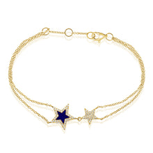 Load image into Gallery viewer, 14k Gold & Diamond Lapis Star Bracelet