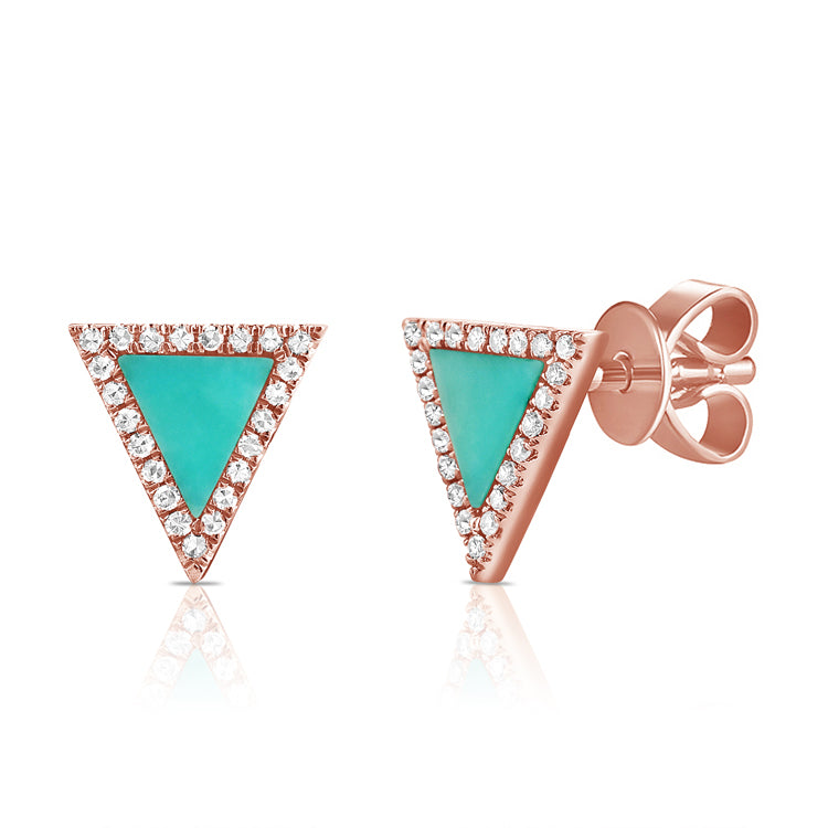 Sabrina Designs 14K Rose Gold Turquoise and Diamond Triangle Studs