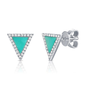 Sabrina Designs 14K White Gold Turquoise and Diamond Triangle Studs