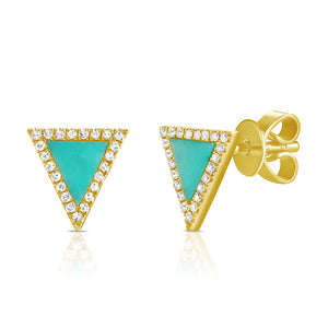 Sabrina Designs 14K Yellow Gold Turquoise and Diamond Triangle Studs