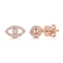 Load image into Gallery viewer, Sabrina Designs 14k Rose Gold Diamond Evil Eye Studs