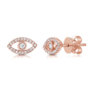 Sabrina Designs 14k Rose Gold Diamond Evil Eye Studs