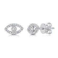 Load image into Gallery viewer, Sabrina Designs 14k White Gold Diamond Evil Eye Studs