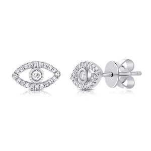 Sabrina Designs 14k White Gold Diamond Evil Eye Studs