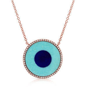 14k Gold & Turquoise Evil Eye Necklace
