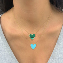 Load image into Gallery viewer, 14k Gold & Turquoise Heart Necklace