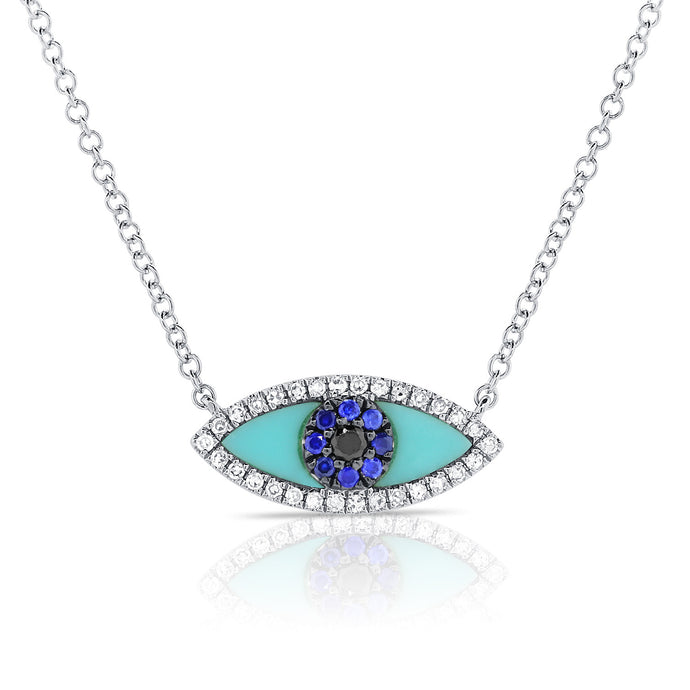 Sabrina Designs 14K White Gold Sapphire and Turquoise Evil Eye Necklace