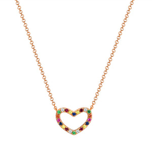 Sabrina Designs 14k Rose Gold Rainbow Heart Necklace