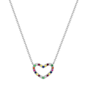 Sabrina Designs 14k White Gold Rainbow Heart Necklace
