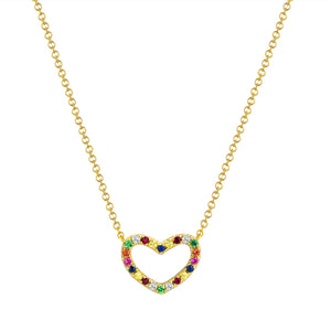 Sabrina Designs 14k Yellow Gold Rainbow Heart Necklace