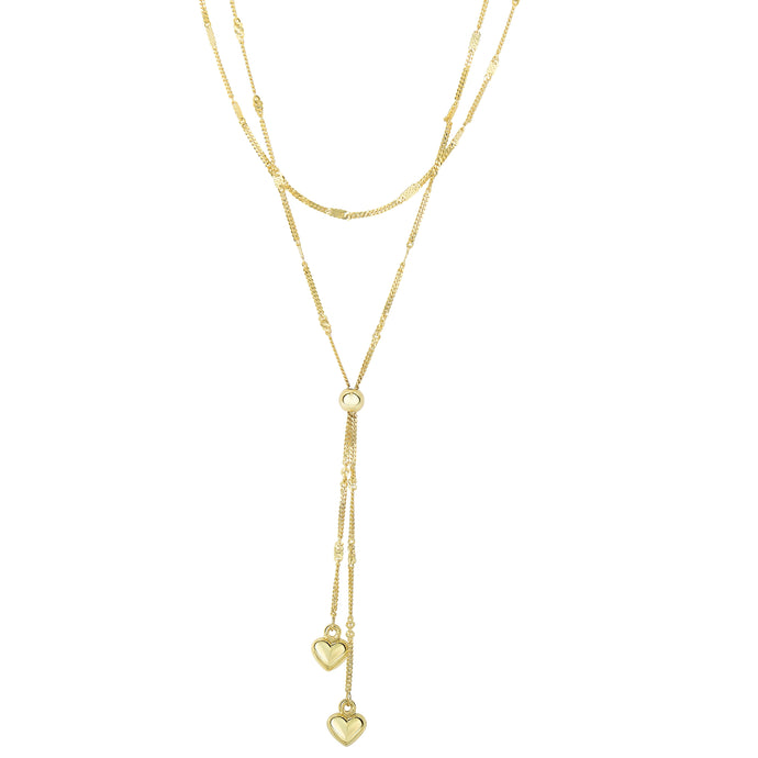 14k Gold Puff Heart Dangle Necklace