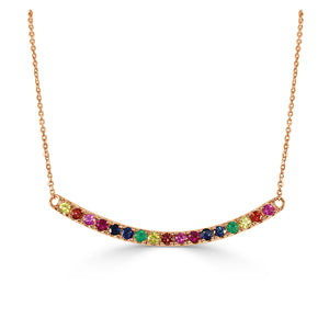 14K Rose Gold Rainbow Sapphire Bar Necklace