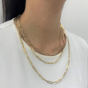 14k Gold Paperclip Link Necklace - Medium