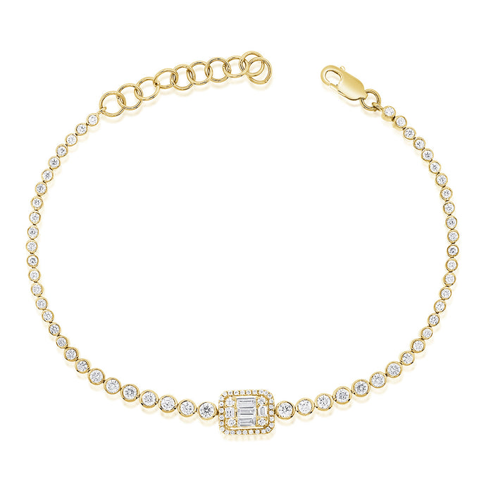 14k Gold & Baguette Diamond Bracelet