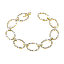 Load image into Gallery viewer, 14k Gold & Diamond Oval Link Bracelet