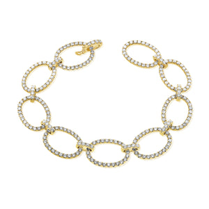 14k Gold & Diamond Oval Link Bracelet