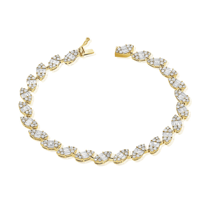 14k Gold & Baguette Diamond Tennis Bracelet