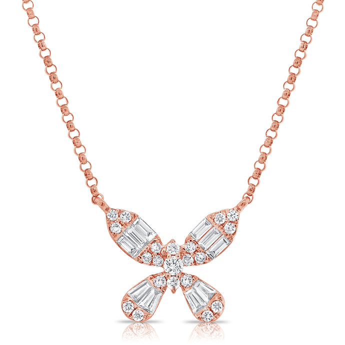 14k Gold & Baguette Diamond Butterfly Necklace