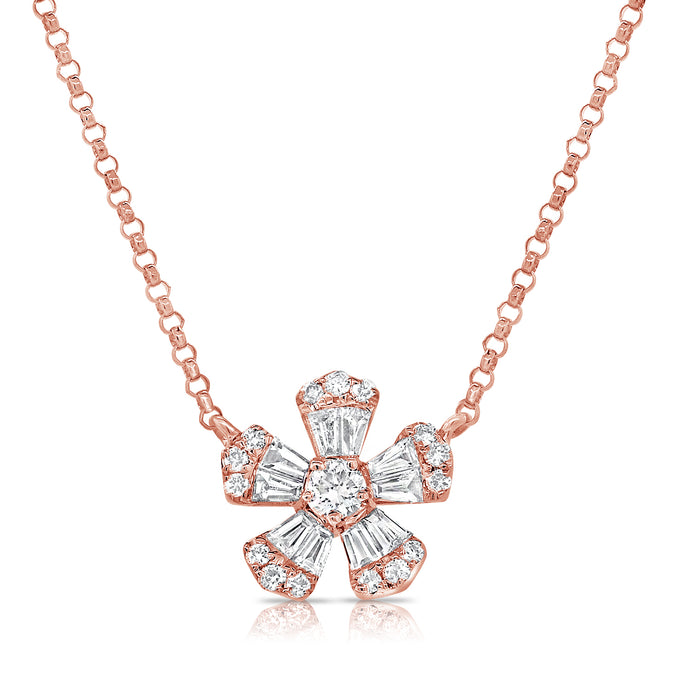 14k Gold & Baguette Diamond Flower Necklace