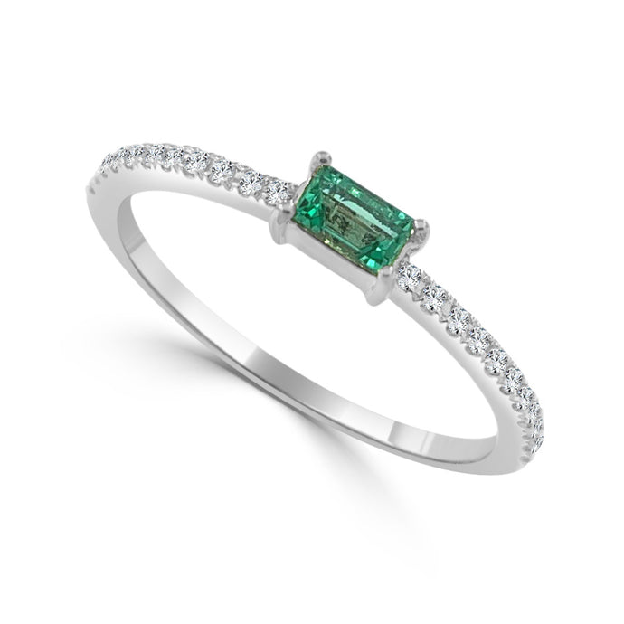 Sabrina Designs 14k White Gold Diamond & Emerald Stackable Ring