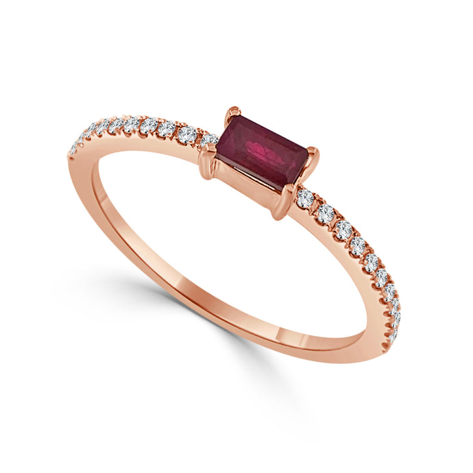 Sabrina Designs 14k Rose Gold Diamond & Ruby Stackable Ring