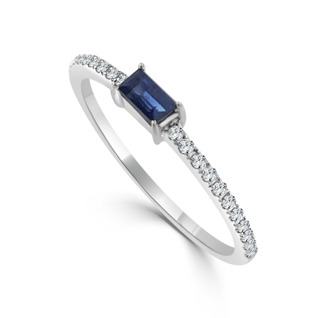 Sabrina Designs 14k White Gold Diamond & Sapphire Stackable Ring