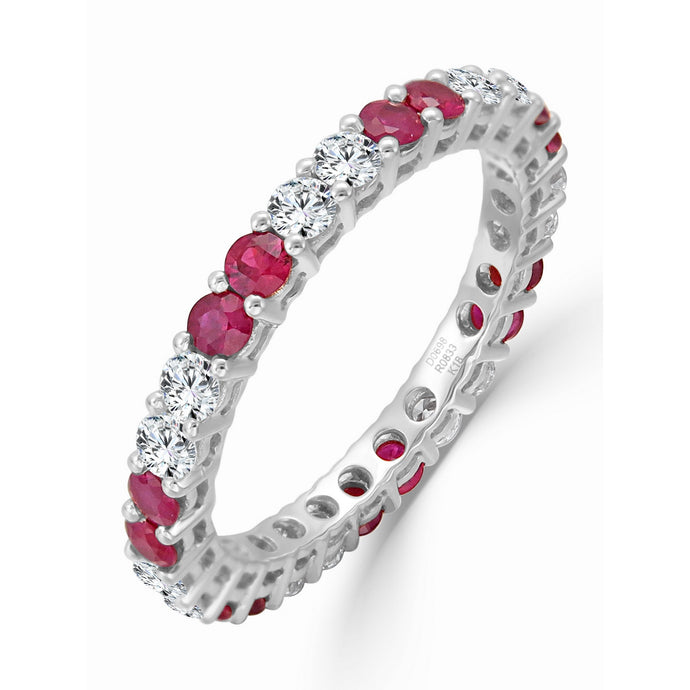 Sabrina Designs 14K White Gold Diamond and Ruby Eternity Ring