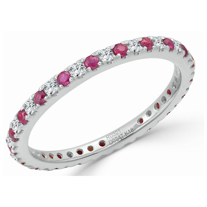 Sabrina Designs 18K White Gold Diamond and Ruby Ring