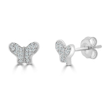 Load image into Gallery viewer, 14k Gold & Diamond Butterfly Studs