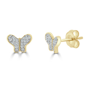 14k Gold & Diamond Butterfly Studs