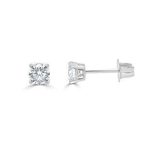 14k Gold & Diamond Round Stud Earrings