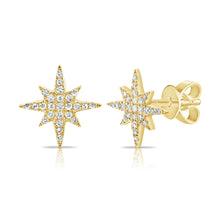 Load image into Gallery viewer, 14k Gold & Diamond Stud Stud Earrings