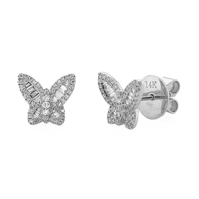 14k Gold & Baguette Diamond Butterfly Stud Earrings