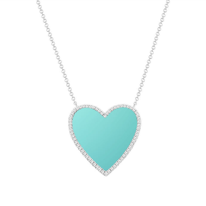 14k Gold Diamond & Turquoise Heart Necklace