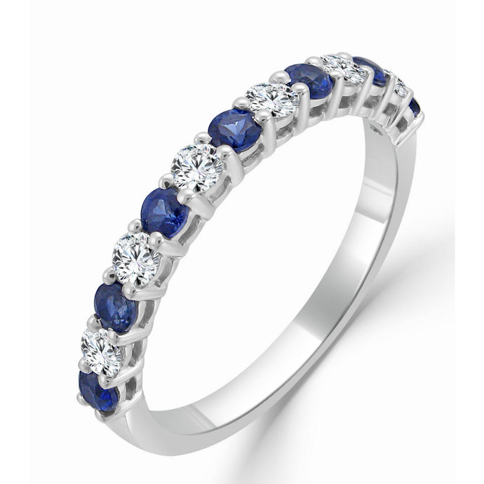 Sabrina Designs 14K White Gold Blue Sapphire and Diamond Ring