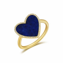 Load image into Gallery viewer, 14k Gold Diamond & Lapis Heart Ring