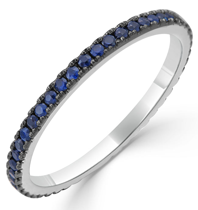 Sabrina Designs 18K White Gold Blue Sapphire Eternity Ring