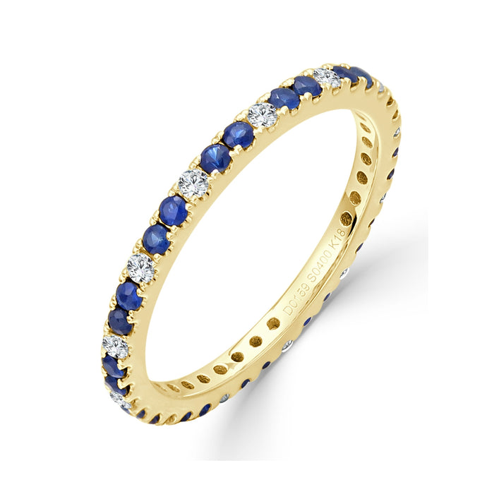 Sabrina Designs 18K Yellow Gold Diamond and Blue Sapphire Eternity Ring