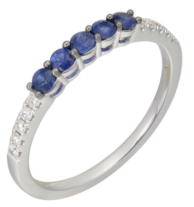 Sabrina Designs 18K White Gold Sapphire and diamond Stackable Ring