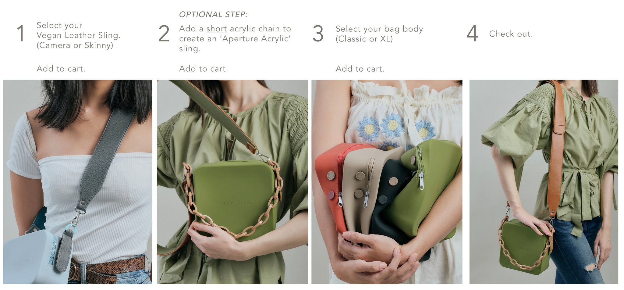 1.) Select Strap, 2.) Add a chain, 3.) Select Bag Body 4.) Check Out
