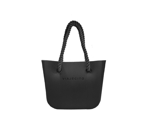 All Black Herringbone Tote w/ Black Straps (MIDI Size)