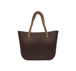 Brown Herringbone Tote