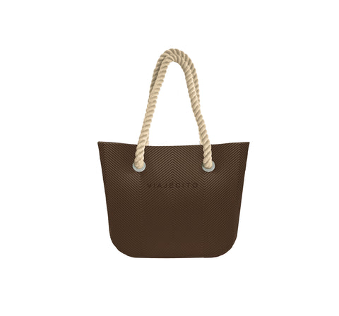 Chocolate Brown Herringbone Tote w/ Nude Straps (MIDI Size)