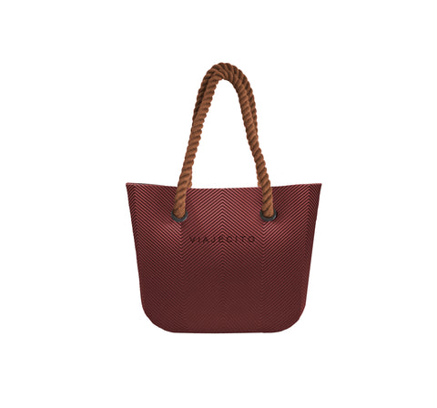 Wine Red Herringbone Tote  w/ Brown Straps (MIDI Size)